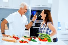 Mature couple cooking at home. Happy couple cooking together at home Stock Image