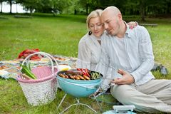 Mature Couple Cooking On An Outdoor Picnic Royalty Free Stock Image