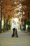 Mature couple dancing in park Stock Image