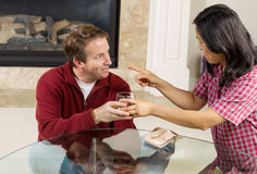 Mature Couple dealing with Acohol drinking Problems at home Stock Image