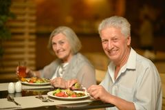 Mature couple at dinner Royalty Free Stock Photo