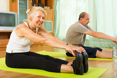 Mature couple doing exercises Royalty Free Stock Image