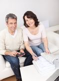 Mature couple doing family finances. At home Stock Image