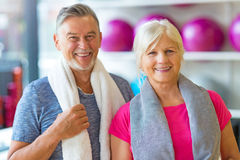 Mature couple doing fitness exercises Royalty Free Stock Photos