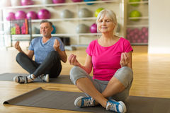 Mature couple doing fitness exercises Stock Photo