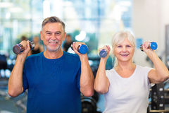 Mature couple doing fitness exercises Stock Images