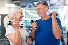 Mature couple doing fitness exercises Royalty Free Stock Photography