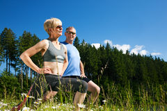 Mature couple doing sport outdoors Stock Photo