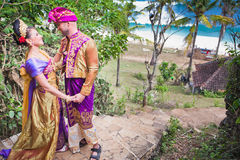 Mature couple dressed in Balinese costume Royalty Free Stock Photos
