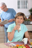 Mature couple drinking milk Stock Photo