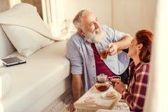 Mature couple drinking tea Stock Photo