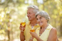 Mature couple drinking wine Stock Photo
