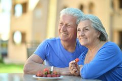 Mature couple eating Stock Photos