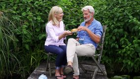 Mature couple enjoying afternoon tea sitting on chairs on wooden jetty by lake. Mature couple enjoy afternoon tea sitting on chairs on wooden jetty by lake stock footage