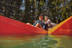 Mature couple enjoying a day at the lake Royalty Free Stock Photo
