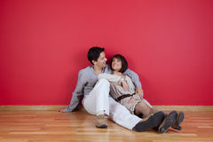 Mature couple enjoying the new house Stock Images