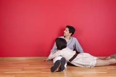 Mature couple enjoying the new house Stock Photos