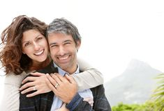 Mature couple enjoying their holidays - Copyspace Royalty Free Stock Photo