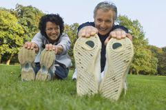 A mature couple exercising. Royalty Free Stock Photos
