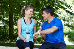 Mature Couple Exercising In Countryside Together Royalty Free Stock Images