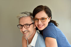 Mature couple with eyeglasses Stock Image