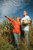 Mature couple in a field Stock Photo