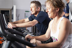 Mature couple at fitness centre. Mature couple wotking out at fitness centre Royalty Free Stock Image