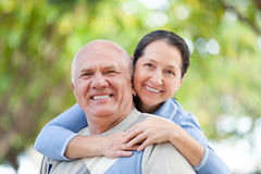 Mature couple in forest Royalty Free Stock Photo