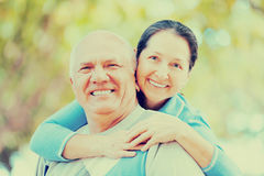 Mature couple in forest Stock Photography