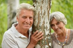 Mature couple in forest Stock Photo