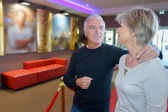 Mature couple going to cinema. Mature couple going to the cinema Stock Image