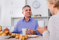 Mature couple have an afternoon snack with fresh muffins and cake. Cheerful positive mature couple have an afternoon snack with fresh muffins and cake in their royalty free stock images