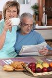 Mature couple having breakfast Stock Photo