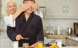 Mature couple having breakfast together Stock Image