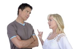 Mature couple having conflict Stock Photography