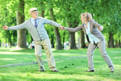 Mature couple having fun in a park Royalty Free Stock Images