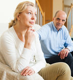 Mature couple having quarrel at home Royalty Free Stock Image