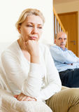 Mature couple having quarrel at home Stock Photography