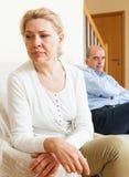 Mature couple having quarrel at home Stock Image