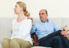 Mature couple having quarrel at home Royalty Free Stock Images