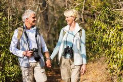Mature couple hiking mountain Royalty Free Stock Photo