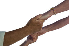Mature couple holding hands, close-up, cut out royalty free stock photo