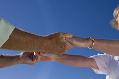 Mature couple holding hands, close-up of hands Royalty Free Stock Image