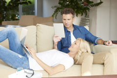 Mature couple at home stock images