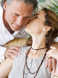 Mature couple kissing. Stock Images