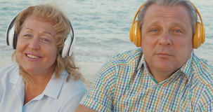 Mature Couple Listening to Music stock footage