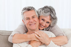 Mature couple looking at the camera Royalty Free Stock Photos