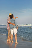 Mature Couple Looking Out to Sea Stock Image