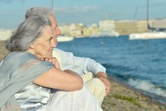 Mature couple looking at town Stock Images