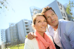 Mature couple in love in residential park Stock Photos